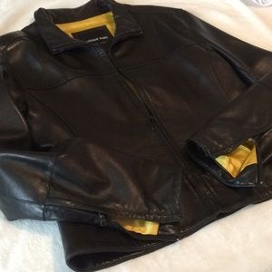 Andrew Marc New York Zipper Leather Jacket Large